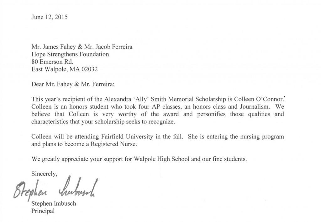 Ally Smith Memorial Scholarship Letter